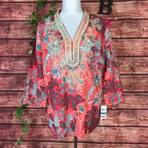 Charter Club Tunic Top XL Coral Green Boho Floral